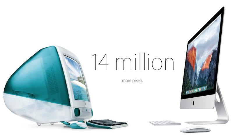 Apple compares iMacs from 1998 and 2015
