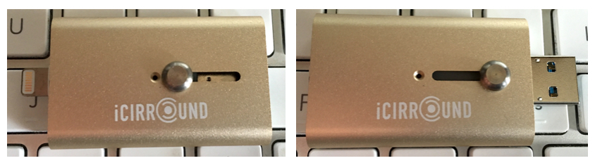 Lightning connector at left, USB 3.0 connector at right.