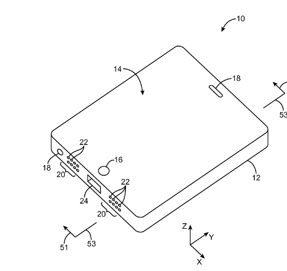 Pictured is a perspective view of an illustrative electronic device such as a portable electronic device that has ports in accordance with an embodiment of the patent.