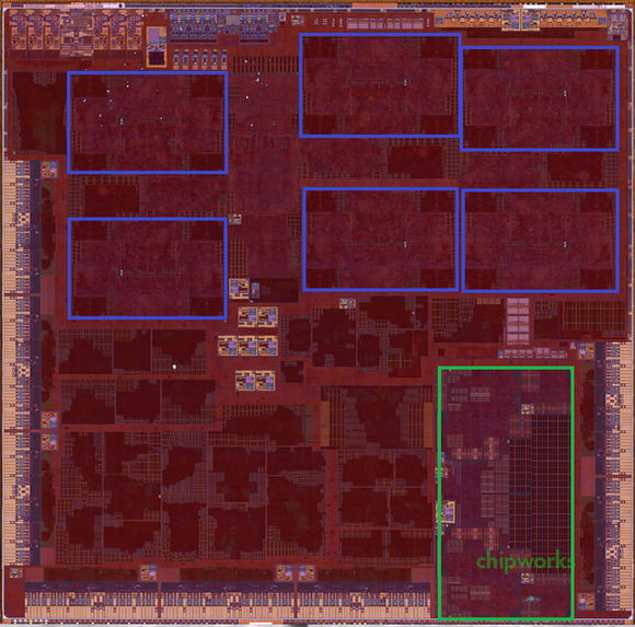 Chipworks scan of the A9X SoC, via The Motley Fool