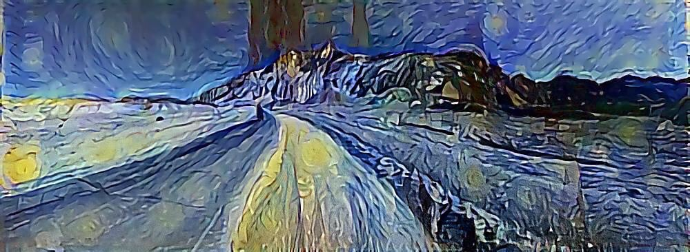 """Panorama photo of Death Valley done in the style of Van Gogh's """"Starry Night"""""""