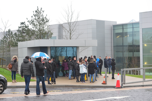 Apple Hollyhill site evacuation. Photo via  independent.ie