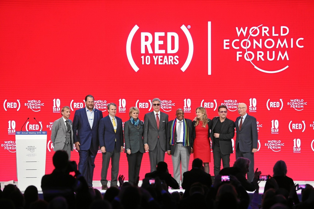 Marking 10 years of (RED) at the 2016 World Economic Forum: Mark Dybul, Executive Director, The Global Fund to Fight AIDS, Tuberculosis and Malaria, Marc Benioff, CEO, Salesforce, Brian Moynihan, Chairman and CEO, Bank of America, Anne Finucane, Vice Chair, Bank of America, Bill McDermott, CEO, SAP, Dr. Aaron Motsoaledi, Minister of Health, South Africa, Deborah Dugan, CEO, (RED), Bono, Klaus Schwab, Founder and Executive Chairman, World Economic Forum.