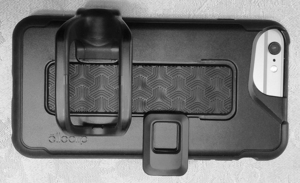 Olloclip Studio Case with two-finger grip, cold shoe installed