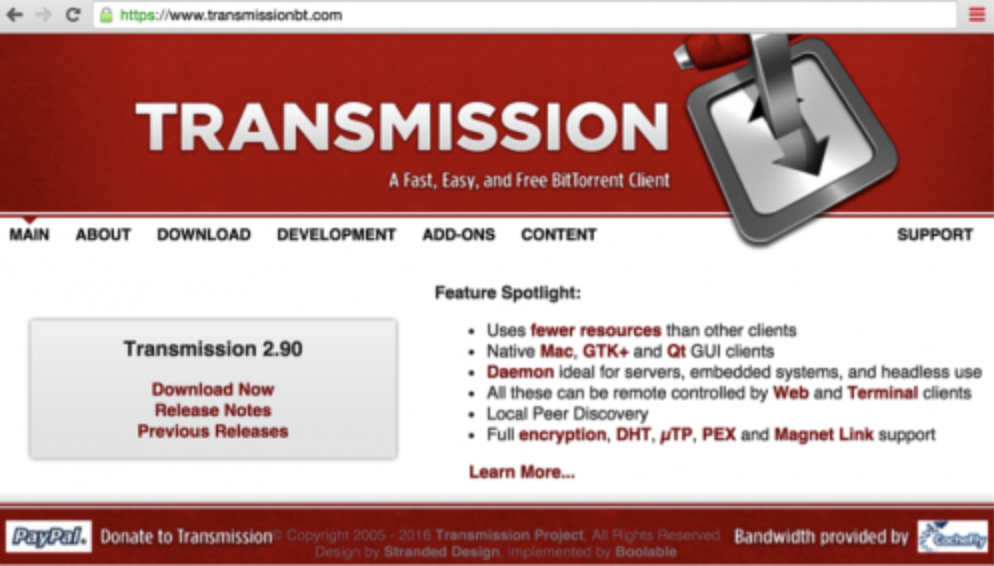 KeRanger was found in the installers downloaded from Transmission's website