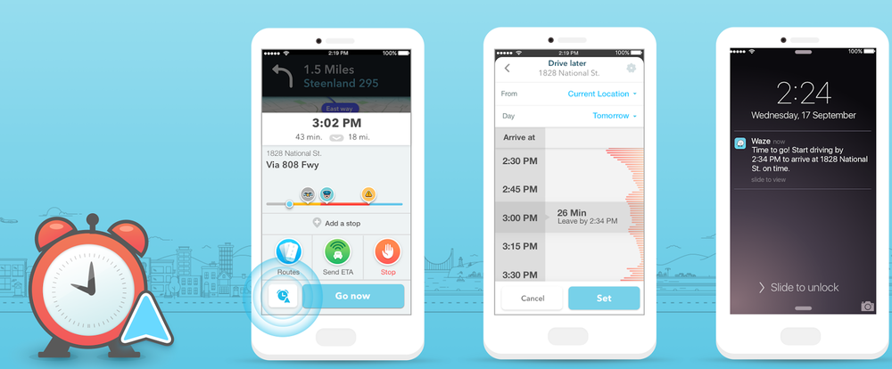 Image via Waze showing L-to-R: ETA Panel Screen, Planned Drives Screen, Planned Drive Alert