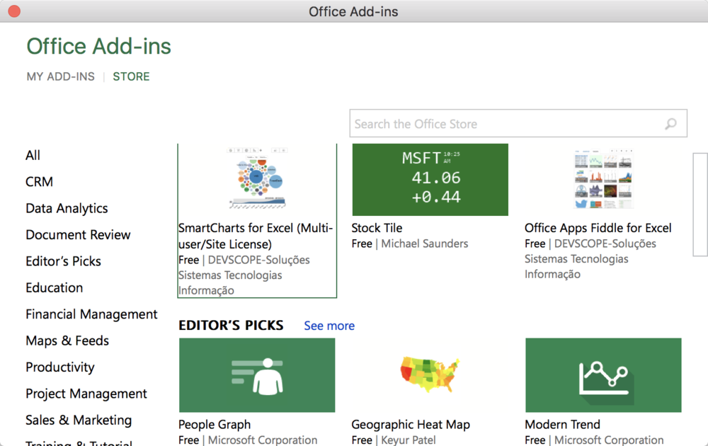 A sampling of add-ins in the Excel Add-In Store