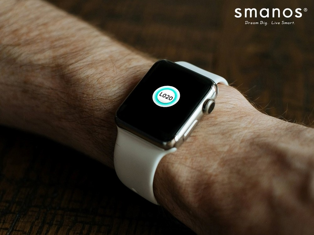 Smanos L020 app on an Apple Watch