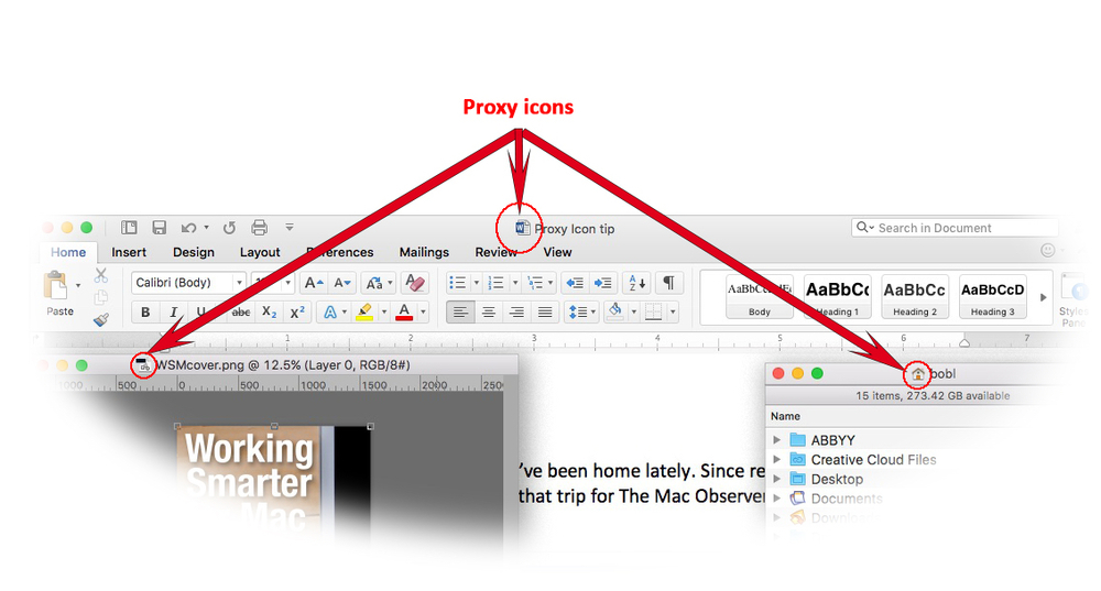 Left to right: Photoshop, Word, and Finder windows with their proxy icons highlighted.