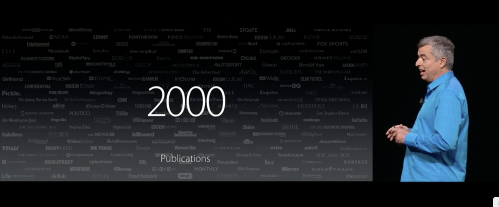 Apple's Eddy Cue and some of the 2,000 publications using Apple News Format