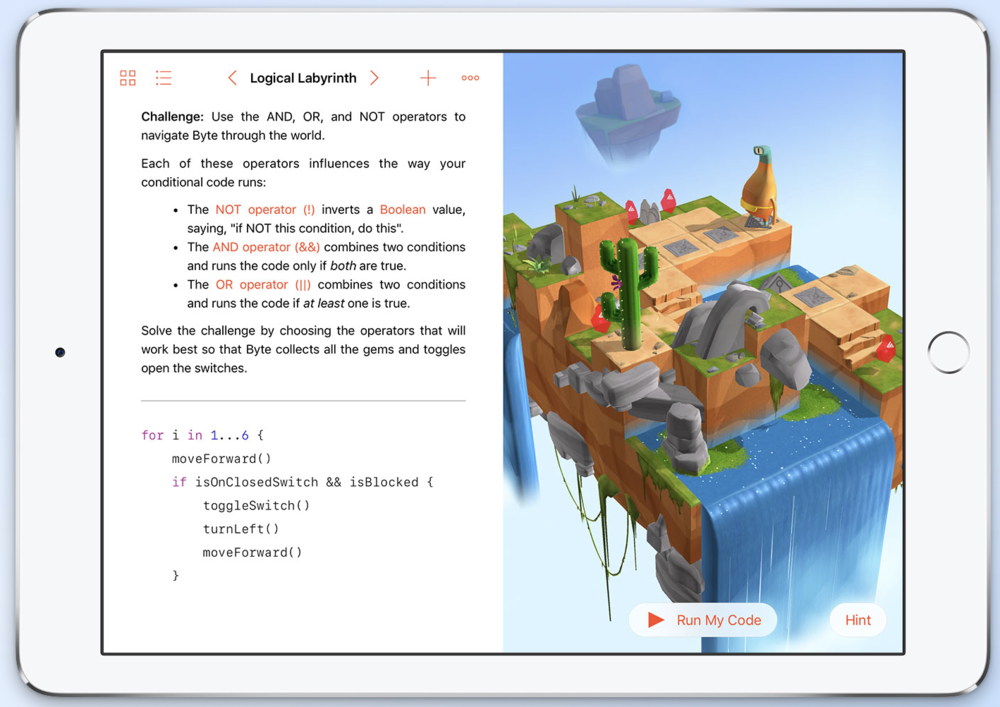One of the lessons in Swift Playgrounds