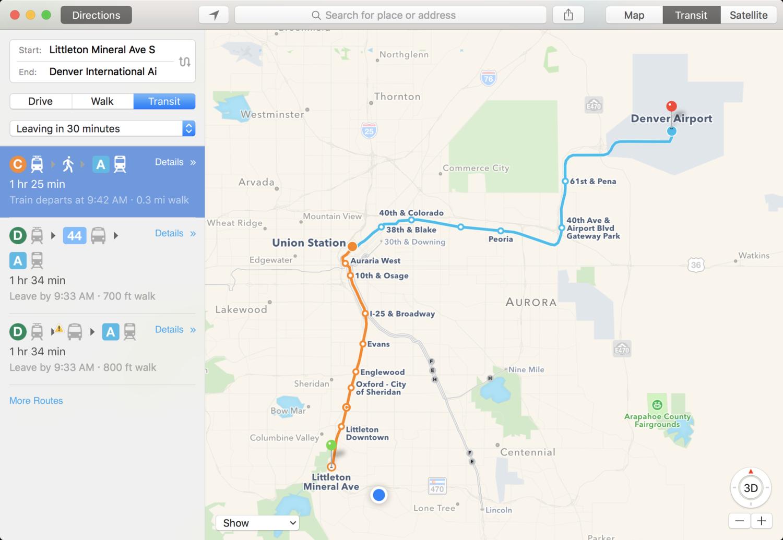 Denver, Colorado gets Apple Maps transit directions — Apple ... on denver college, denver schools map, denver bike paths, denver culture map, denver rtd zones, denver taxi map, denver zip code boundary map, denver trails map, denver toll map, denver surrounding cities, denver freeways, denver rtd map, denver tourism map, denver hotels map, denver lrt map, denver beer company, denver bus system, denver national airport, denver mugshots, denver region map,
