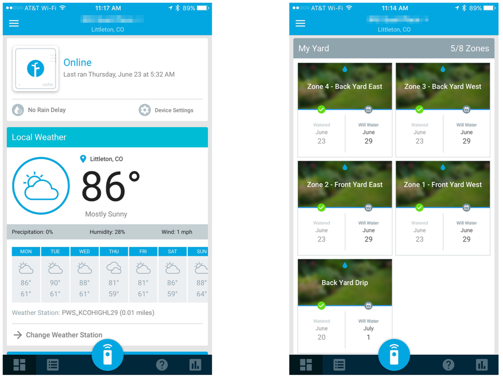 "Rachio App, showing current conditions (left) and ""yard card"" (right)"