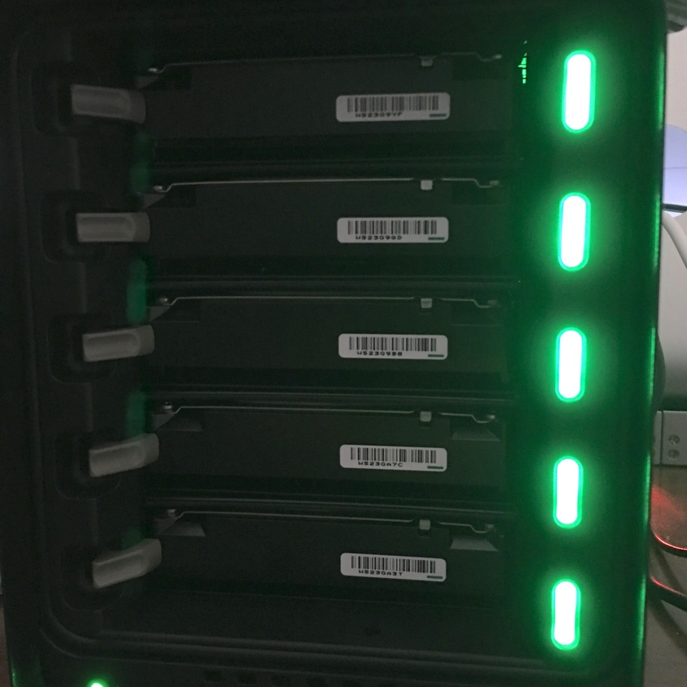 All lights green on this Drobo 5Dt loaded with 2TB drives. Photo ©2016, Steven Sande