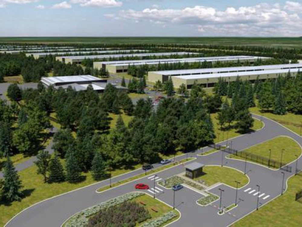 "A COMPUTER-GENERATED IMAGE OF APPLE'S PROPOSED DATA CENTER, COURTESY OF ""BUSINESS INSIDER."""