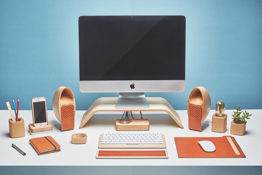 The Grovemade Speaker System...and the rest of the Desk Collection with an iMac thrown in for good measure...