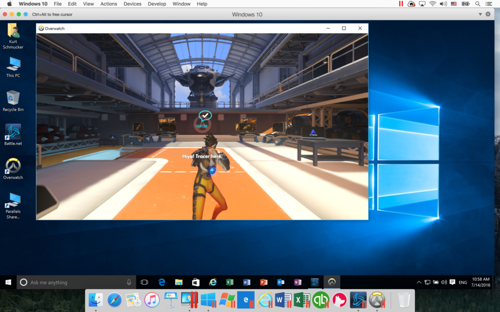 Playing Overwatch in Windows 10 with Parallels Desktop 12