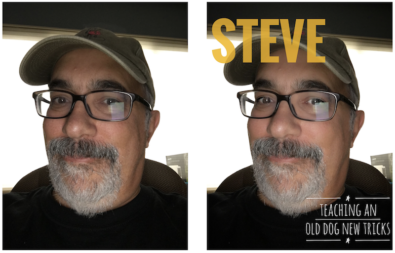 Original (left) and image run through Face and Text tools in Snapseed