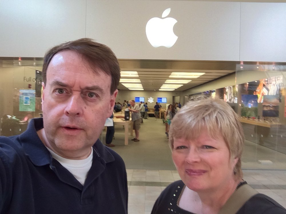The obligatory selfie in front of the apple store in louisville, KY with my wife