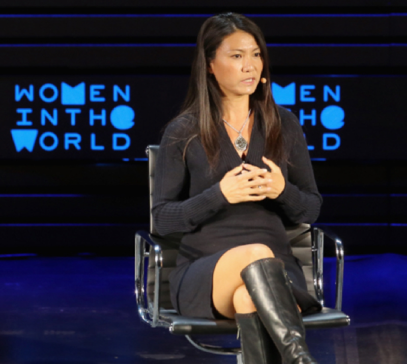 YOKY MATSUOKA SPEAKS ONSTAGE DURING TINA BROWN'S 7TH ANNUAL WOMEN IN THE WORLD SUMMIT AT DAVID H. KOCH THEATER AT LINCOLN CENTER ON APRIL 8, 2016 IN NEW YORK CITY. PHOTOGRAPH BU JEMAL COUNTESS 2016 — GETTY IMAGES