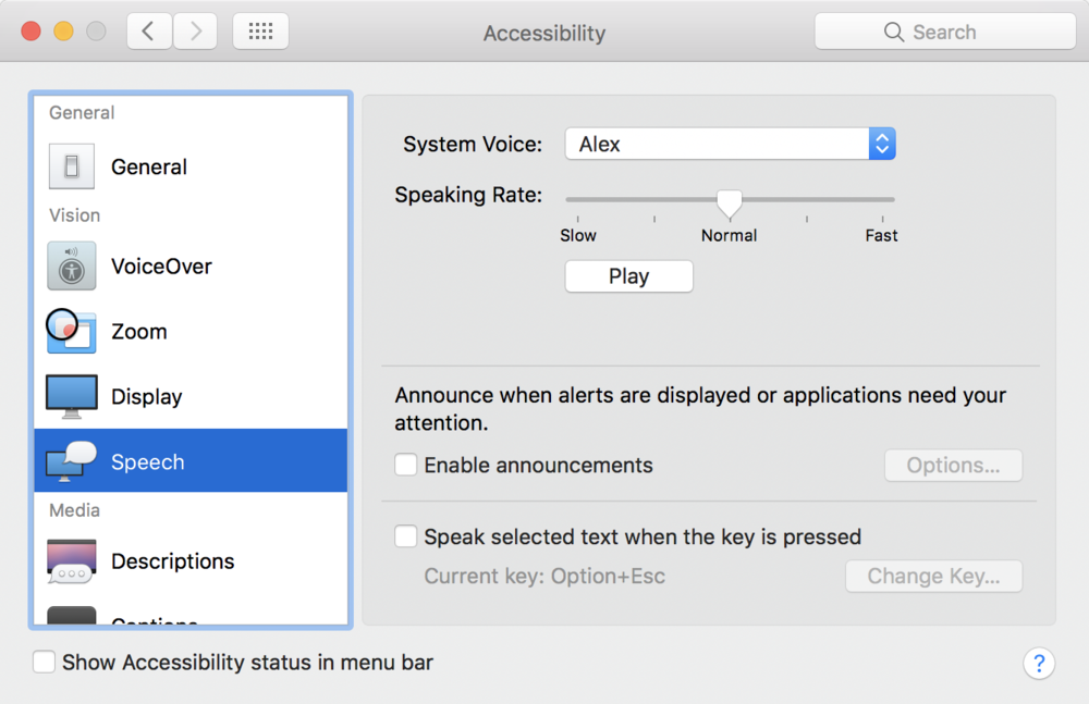 System Preferences > Accessibility > Speech. Screenshot from macOS 10.12.2