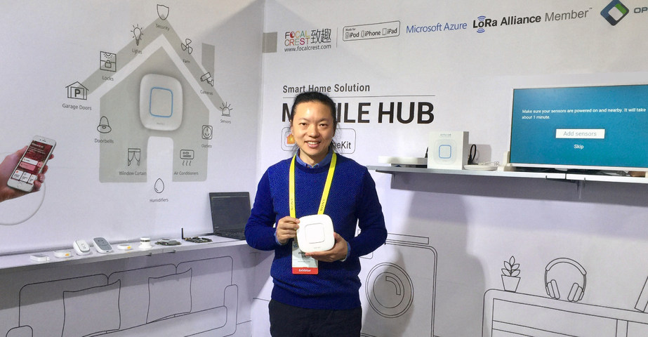 Focalcrest CEO Martin Liu shows off the Mixtile Hub at CES 2017