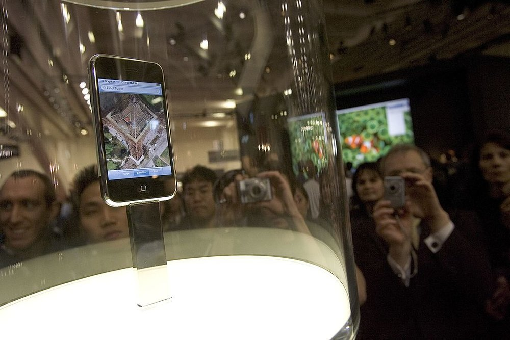 The original iPhone on display at Macworld Expo 2007