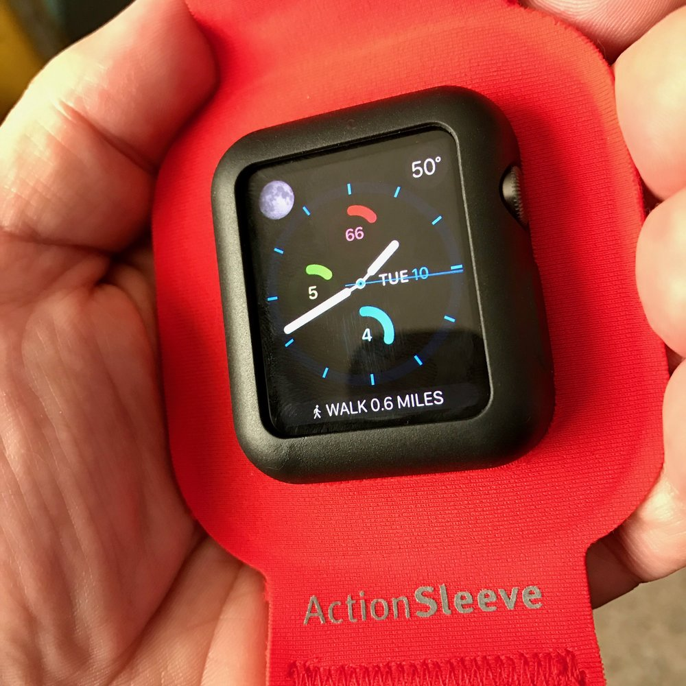Apple Watch in a Twelve South ActionSleeve ArmBand. Photo ©2017, Steven Sande