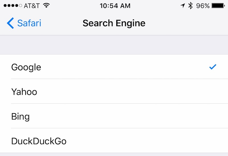 The four search engines available in iOS (U.S.)