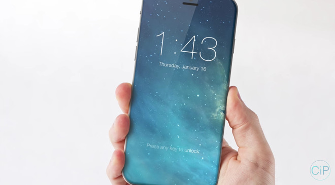 Concept of a future iPhone with an edge to edge OLED display