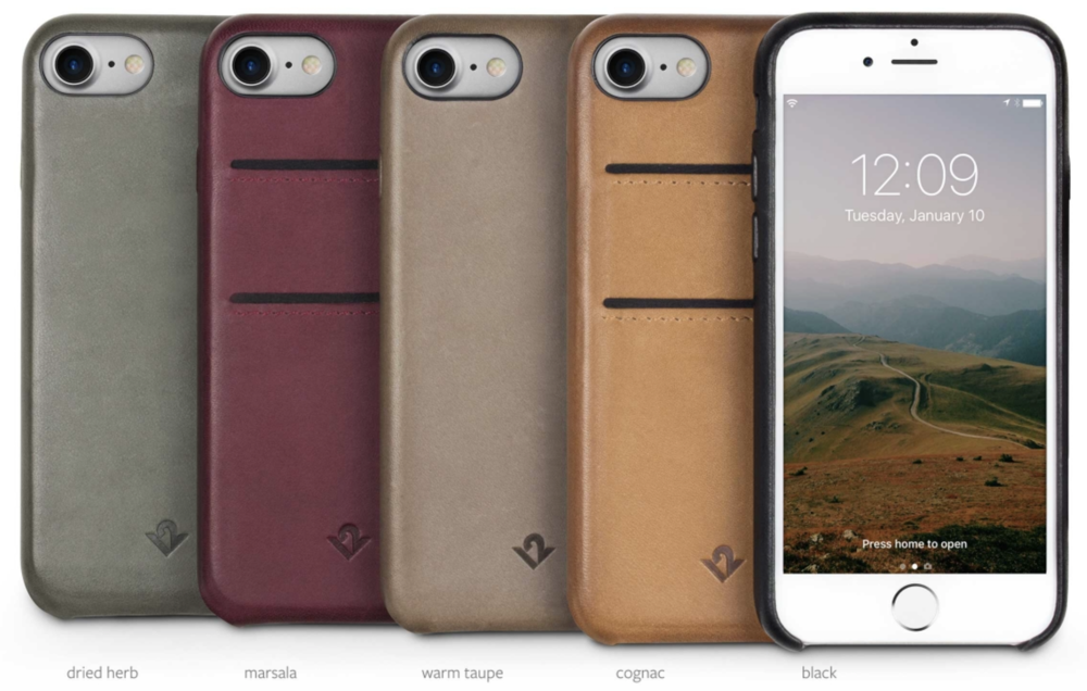 The five colors available for the RelaxedLeather case