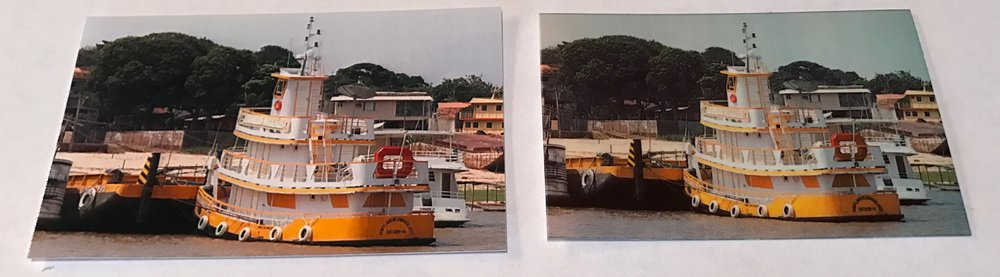 Once again, the sky in the HP Sprocket photo (right) had a slight greenish cast to it. The yellow trim of the tugboat is much more saturated and realistic in the PICKIT 20 image (left).