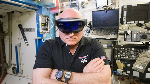 NASA astronaut Scott Kelly wears a pair of Microsoft HoloLens augmented reality glasses aboard the International Space Station during his year in space. Image via NASA