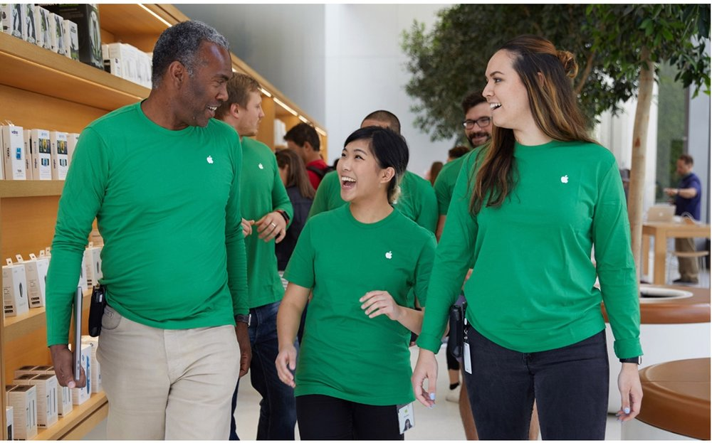 Customers around the world have been greeted by employees wearing green shirts to mark the occasion, and Apple logos at hundreds of stores feature a green leaf.