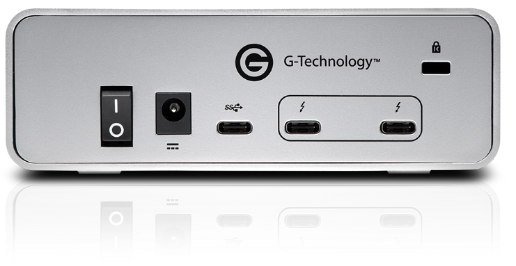 Rear view of G-Technology G-DRIVE with Thunderbolt 3