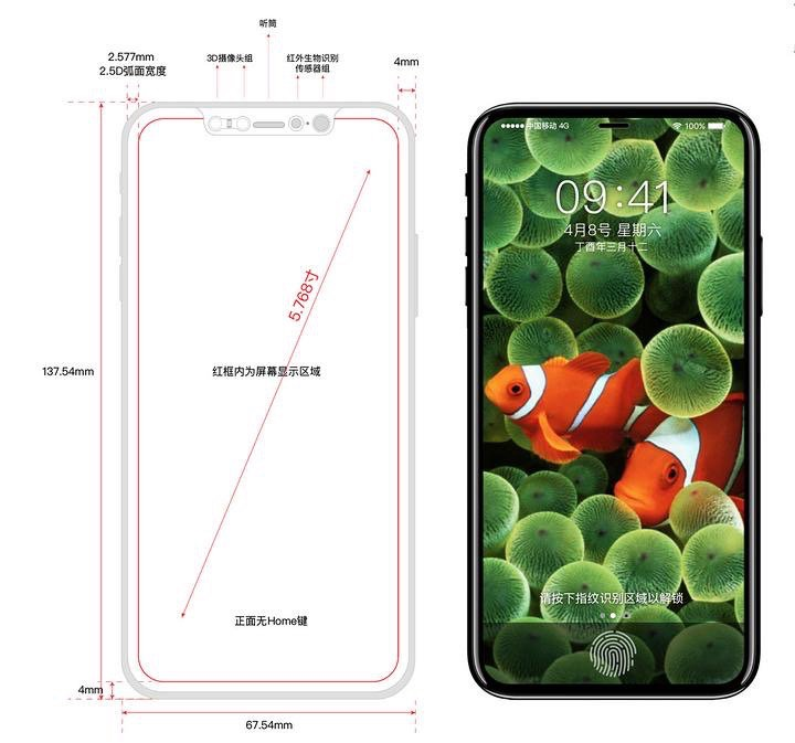 "Rendering of an ""iPhone 8"" via  KK Sneak Leaks"