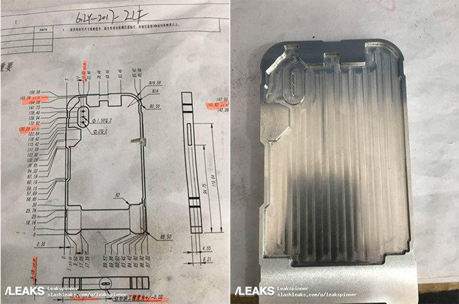 Alleged iPhone 8 case schematics and mold