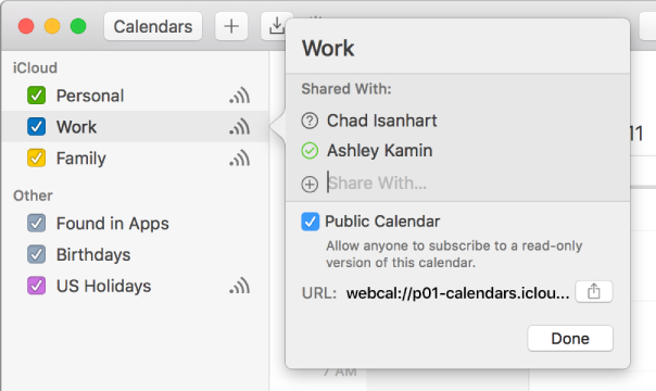 How to share calendars in macos sierra apple world today a family calendar automatically appears in the icloud calendar list everyone in your family sharing group can view and update the same family calendar solutioingenieria Choice Image