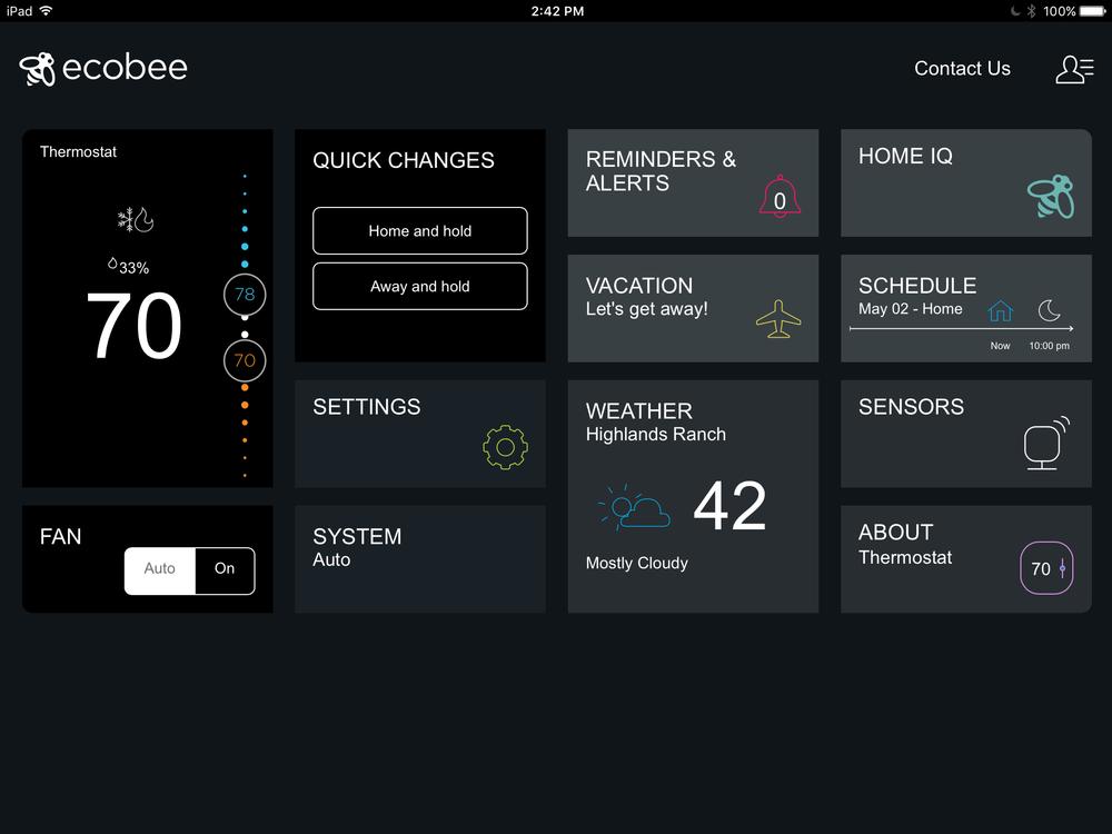 iPad app main screen