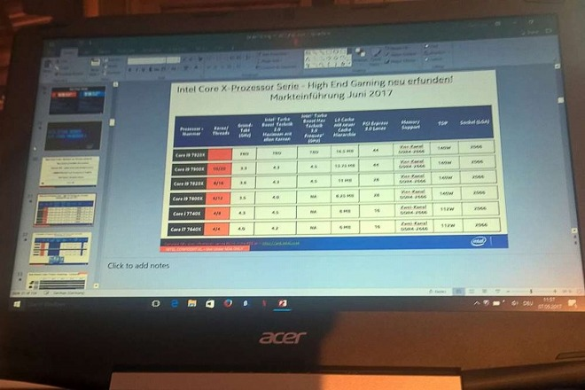 The alleged Intel presentation showing Core i9 processor details