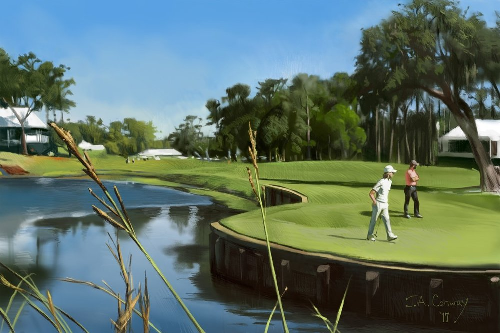 iPad Pro illustration of The Players Tournament by Jim Conway, courtesy of the PGA Tour