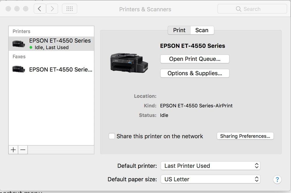 install epson printer on mac
