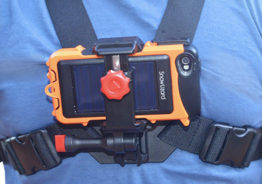 SnowLizard Chest Mount works with the SLXtreme iPhone Case