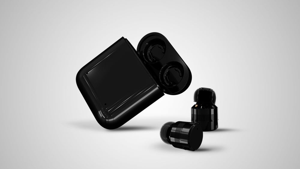 The black Touch earbuds and charging case