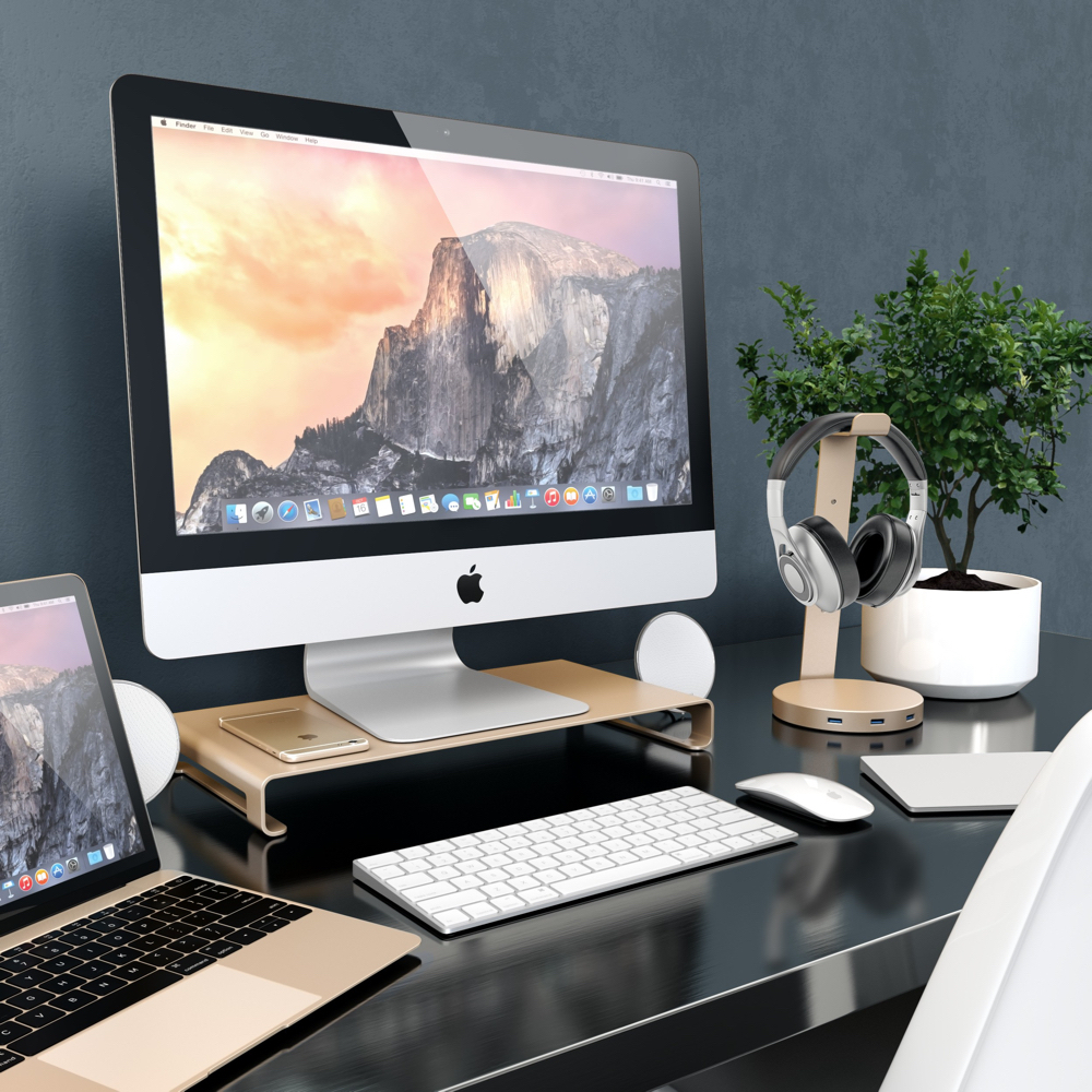 photo image Satechi's Aluminum Monitor Stand works great with new iMacs