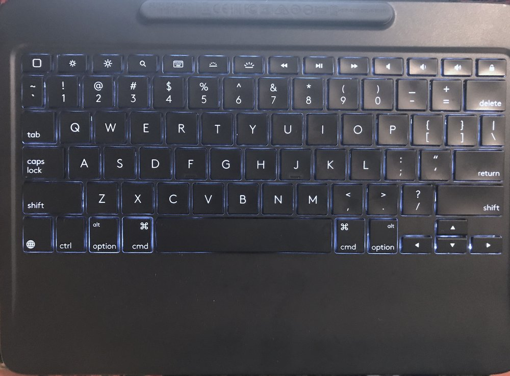 The backlit key and expansive palm rest of the Slim Combo keyboard