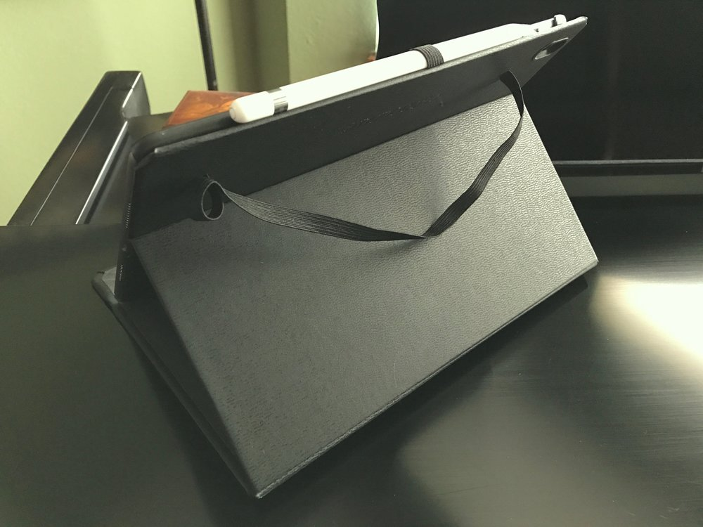 Exterior of the DODOcase for 10.5-inch iPad Pro, showing the elastic closure and Apple Pencil strap. Photo ©2017, Steven Sande