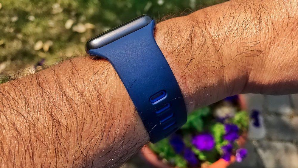 The Marine Blue Belkin Sport Band for Apple Watch. Photo ©2017, Steven Sande