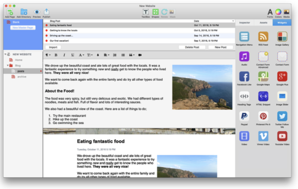 EverWeb's blogging interface