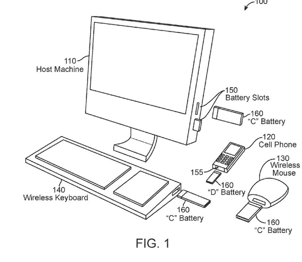 photo image Apple patent shows an iMac with slots for recharging batteries for wireless devices